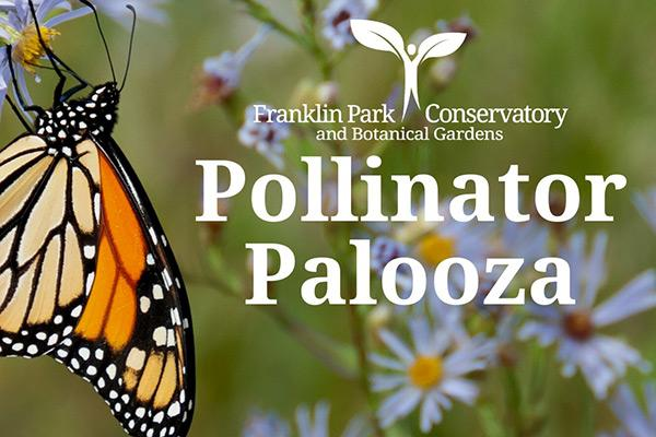 Monarch butterfly on wildflowers with Conservatory logo and Pollinator Palooza text