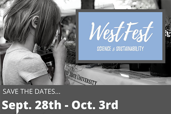 Black and white photo of a girl looking through a magnifying glass with save the date language for WestFest