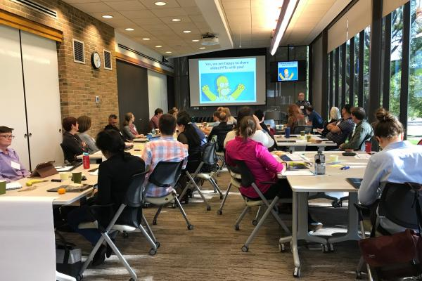 Participants at the Broader Impacts workshop in Rightmire Hall
